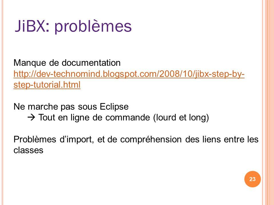JiBX: problèmes 23 Manque de documentation http://dev-technomind.blogspot.com/2008/10/jibx-step-by- step-tutorial.html Ne marche pas sous Eclipse Tout