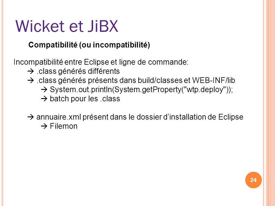 Wicket et JiBX 24 Incompatibilité entre Eclipse et ligne de commande:.class générés différents.class générés présents dans build/classes et WEB-INF/li