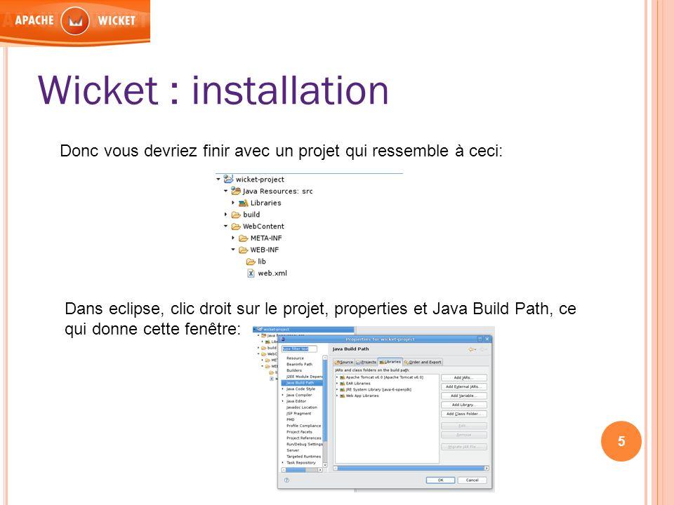 Donc vous devriez finir avec un projet qui ressemble à ceci: Dans eclipse, clic droit sur le projet, properties et Java Build Path, ce qui donne cette