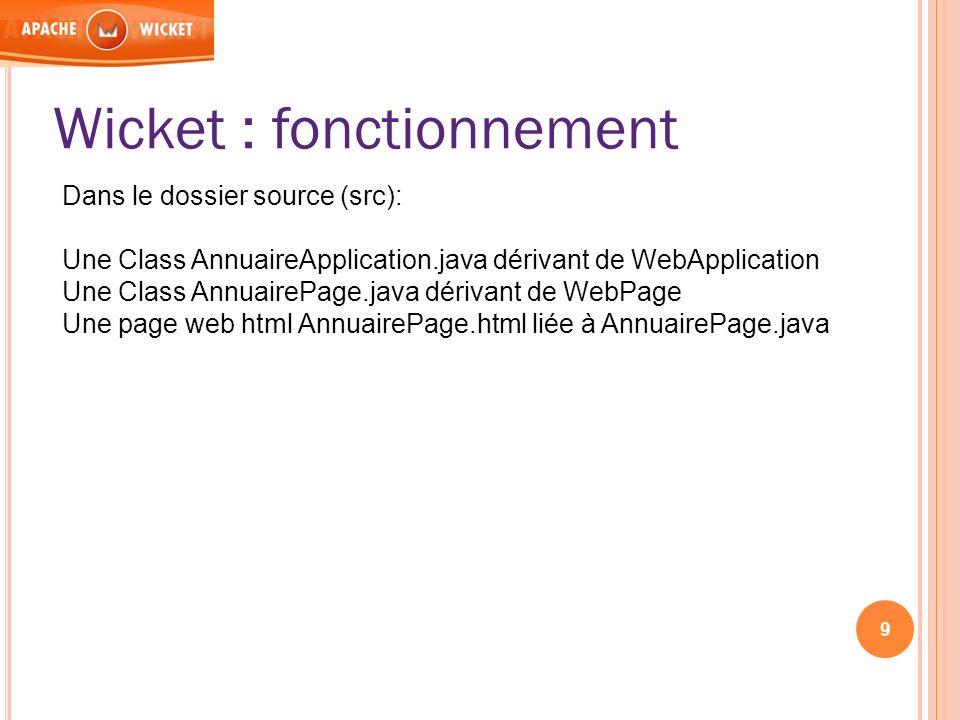 9 Wicket : fonctionnement Dans le dossier source (src): Une Class AnnuaireApplication.java dérivant de WebApplication Une Class AnnuairePage.java déri