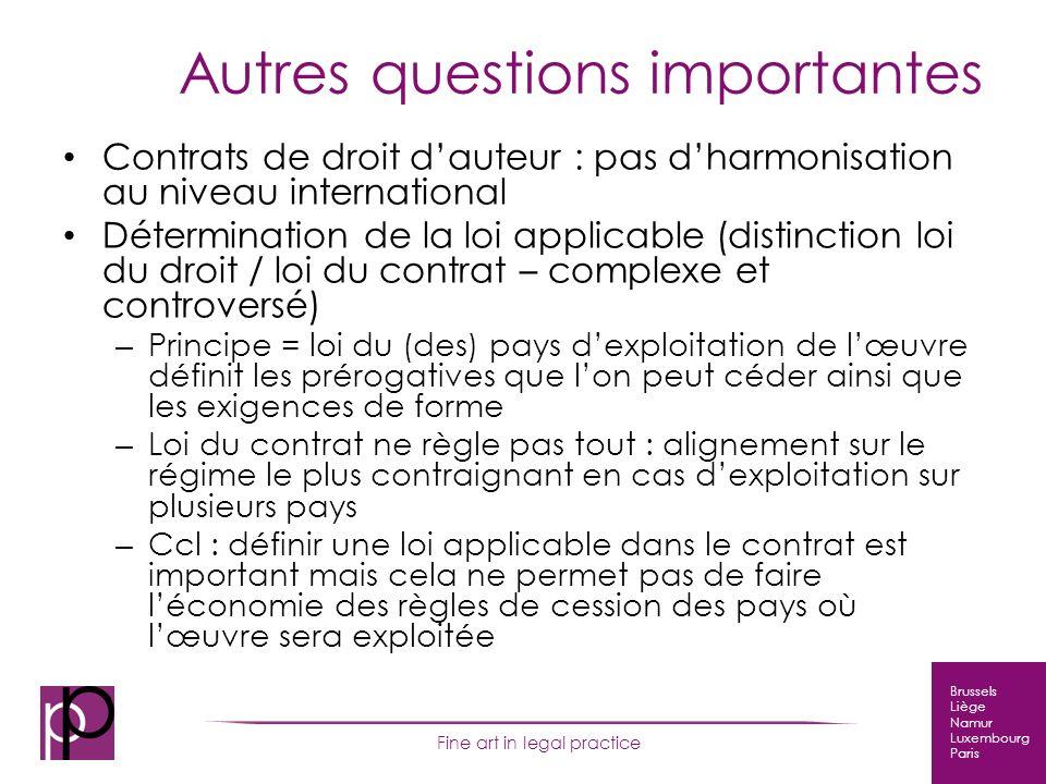 Brussels Liège Namur Luxembourg Paris Fine art in legal practice Autres questions importantes Contrats de droit dauteur : pas dharmonisation au niveau