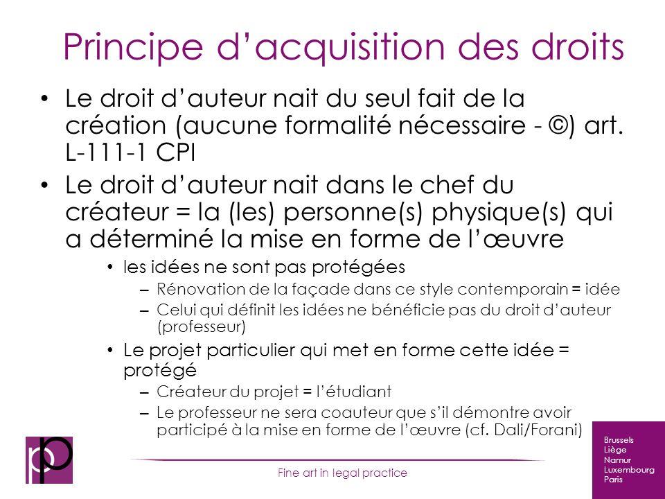 Brussels Liège Namur Luxembourg Paris Fine art in legal practice 14 Conclusion Un règlement réglant la question des droits dauteur des étudiants et des enseignants simpose sans doute à lENSAL, comme dans toute autre école …