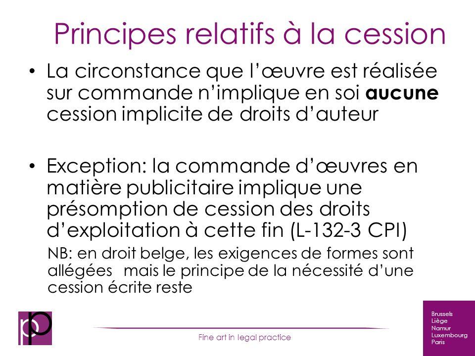 Brussels Liège Namur Luxembourg Paris Fine art in legal practice Résolution du cas Auteur = étudiant Cession de droits en faveur de lécole .
