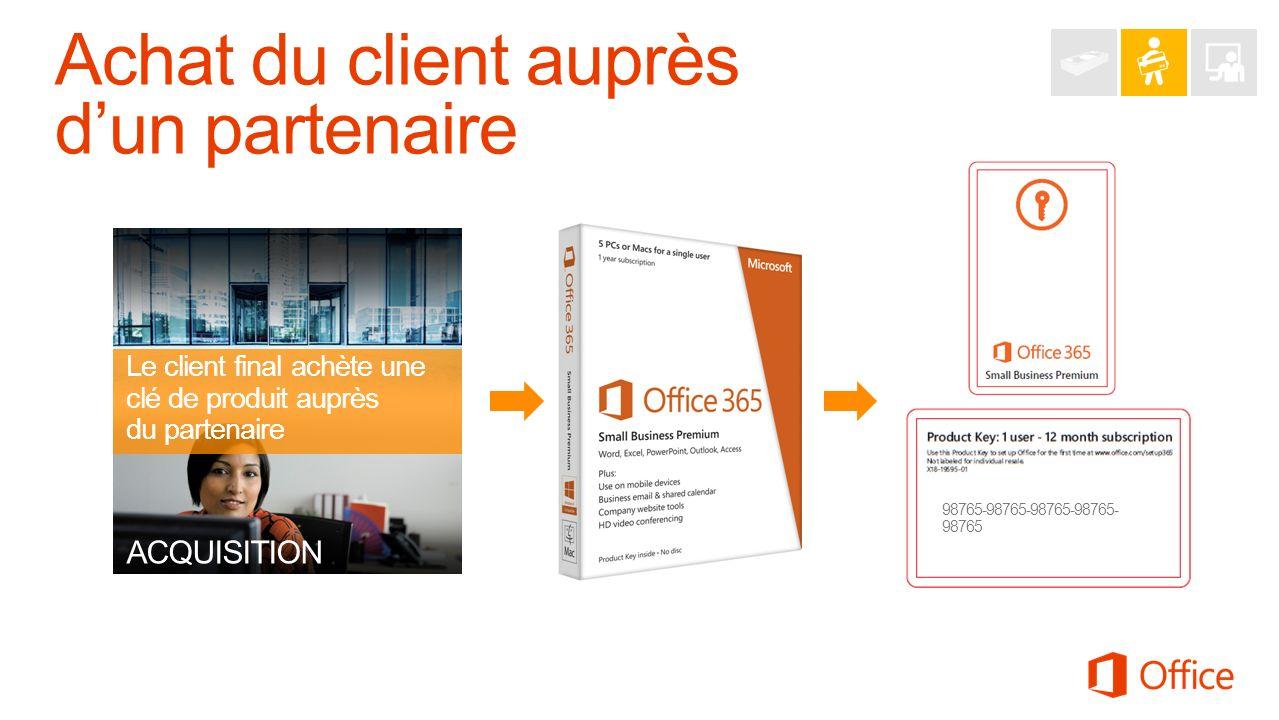 ACQUISITION Le client final achète une clé de produit auprès du partenaire 98765-98765-98765-98765- 98765