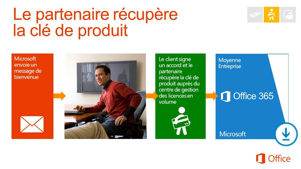 Microsoft envoie un message de bienvenue Office 365 Moyenne Entreprise Microsoft Partenaire et client Le client signe un accord et le partenaire récup