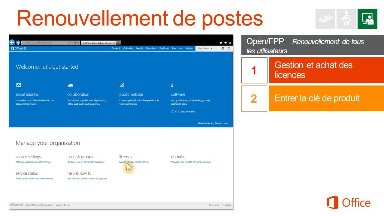 Open/FPP – Renouvellement de tous les utilisateurs Gestion et achat des licences http://www.office.com/365 Entrer la clé de produit