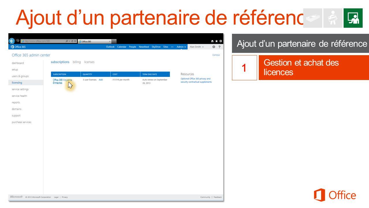 Ajout dun partenaire de référence Gestion et achat des licences http://www.office.com/365 Office 365 Moyenne Entreprise XX,XX