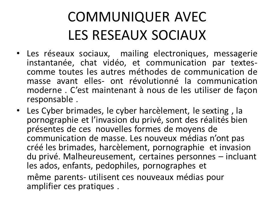 COMMUNIQUER AVEC LES RESEAUX SOCIAUX Les réseaux sociaux, mailing electroniques, messagerie instantanée, chat vidéo, et communication par textes- comm