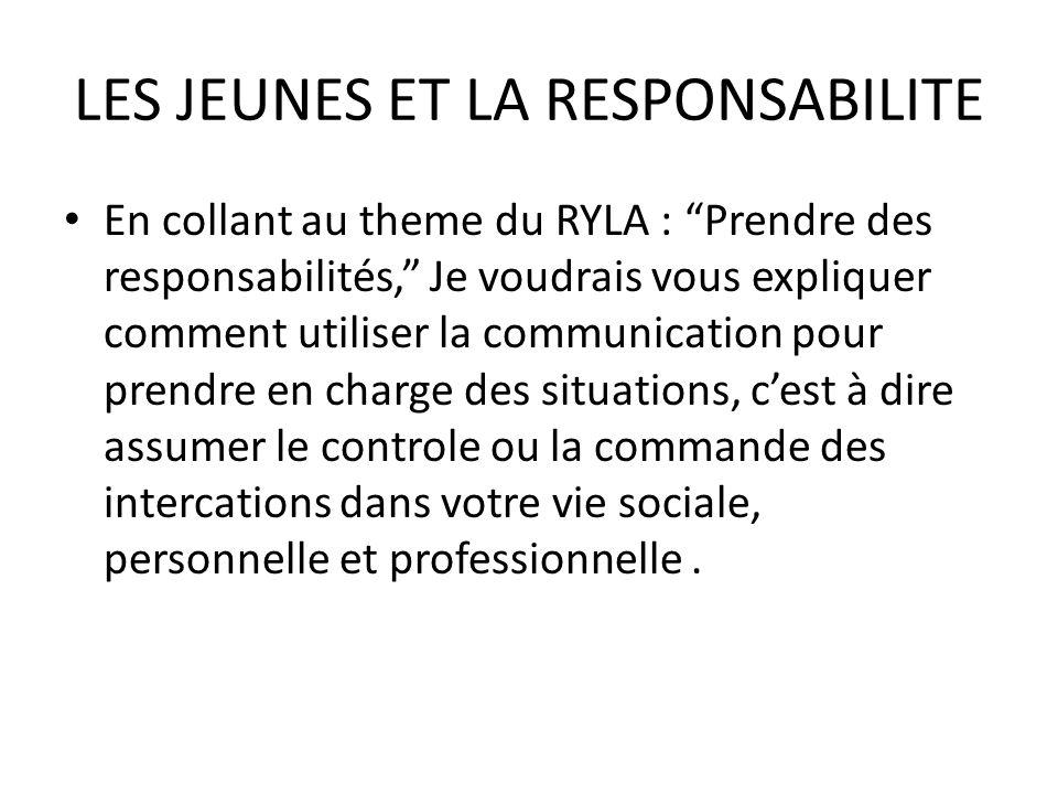 LES JEUNES ET LA RESPONSABILITE En collant au theme du RYLA : Prendre des responsabilités, Je voudrais vous expliquer comment utiliser la communicatio
