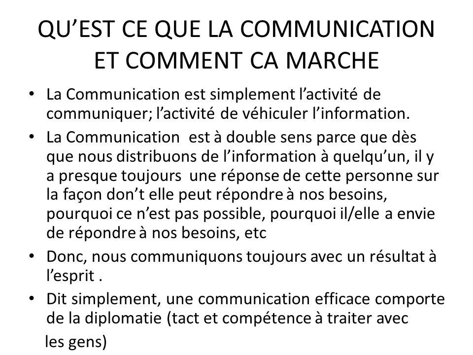 QUEST CE QUE LA COMMUNICATION ET COMMENT CA MARCHE La Communication est simplement lactivité de communiquer; lactivité de véhiculer linformation. La C