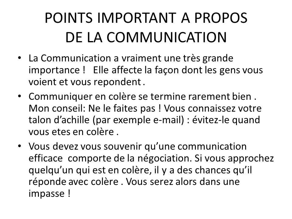 POINTS IMPORTANT A PROPOS DE LA COMMUNICATION La Communication a vraiment une très grande importance ! Elle affecte la façon dont les gens vous voient