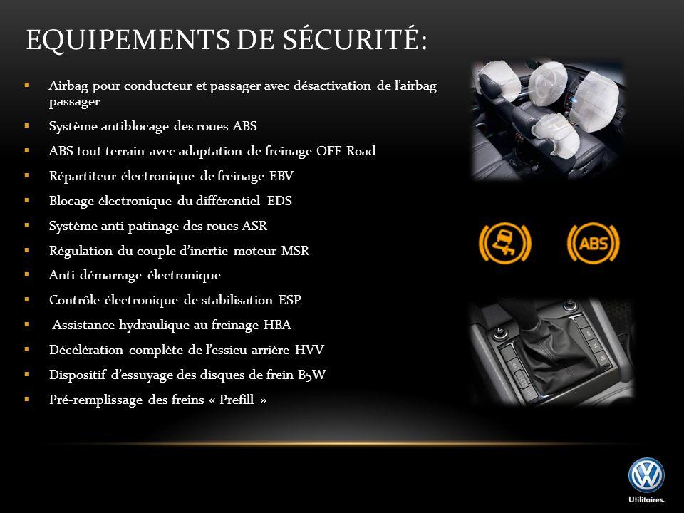 EQUIPEMENTS DE SÉCURITÉ: Airbag pour conducteur et passager avec désactivation de lairbag passager Système antiblocage des roues ABS ABS tout terrain