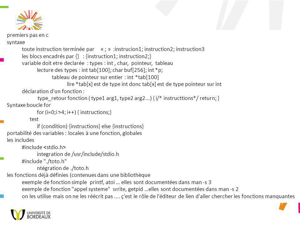 différence entre compilation et edition de lien compilation.o : gcc -o fonction.o fonction.c edition de lien l executable dynamique gcc -o fonctiondyn fonction.c l executable statique gcc -static -o foncstatique fonction.c comparer les tailles ls -l fonction* pourquoi.