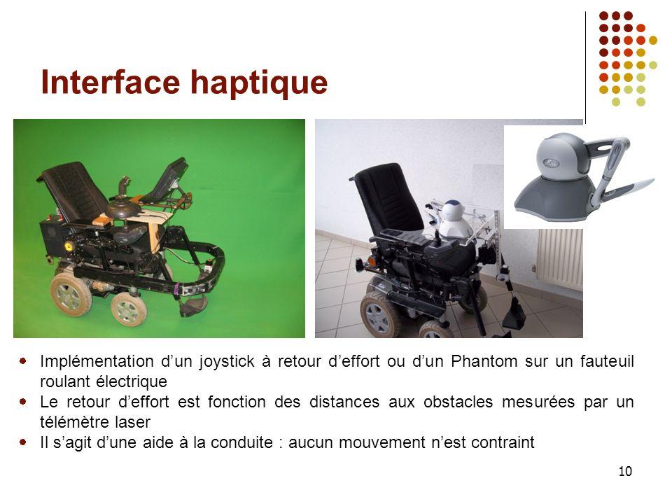 10 Interface haptique Implémentation dun joystick à retour deffort ou dun Phantom sur un fauteuil roulant électrique Le retour deffort est fonction de