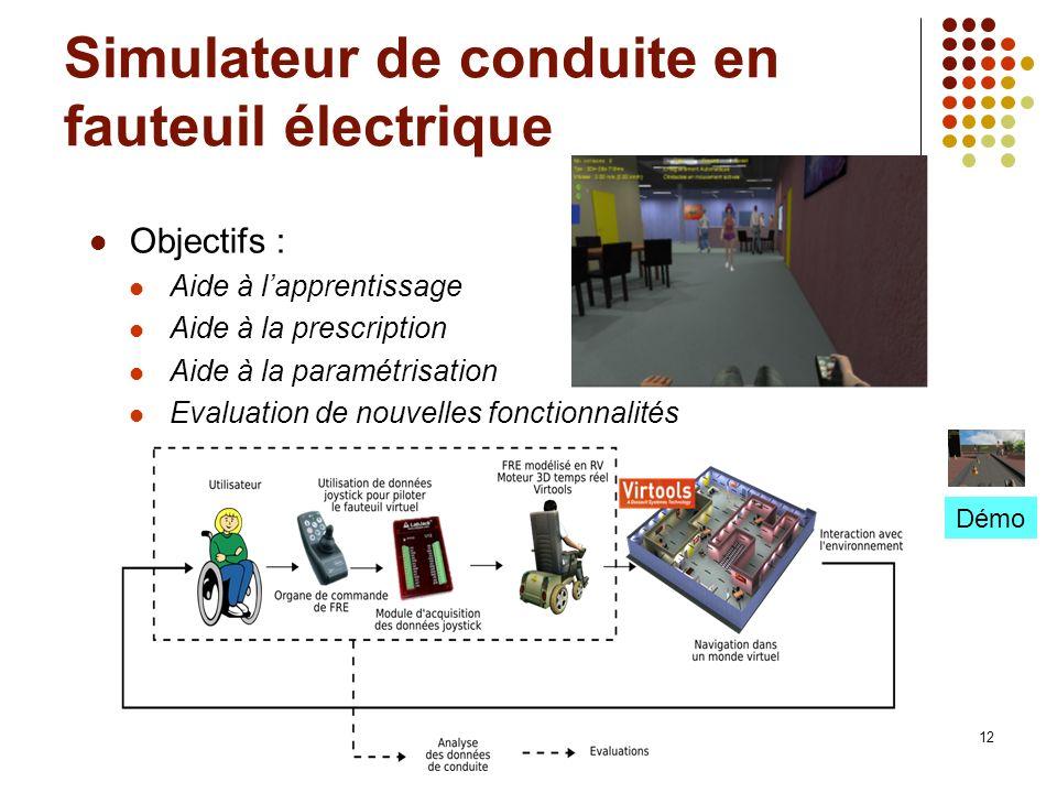 12 Simulateur de conduite en fauteuil électrique Objectifs : Aide à lapprentissage Aide à la prescription Aide à la paramétrisation Evaluation de nouv