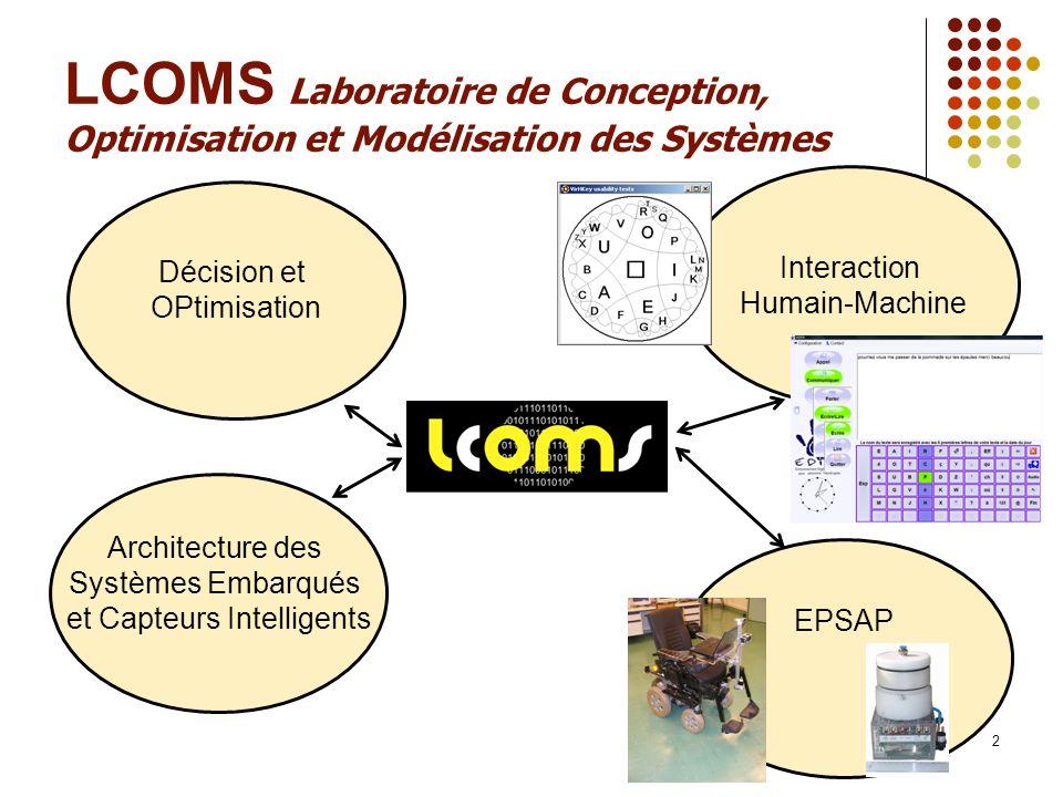 2 LCOMS Laboratoire de Conception, Optimisation et Modélisation des Systèmes Architecture des Systèmes Embarqués et Capteurs Intelligents Décision et