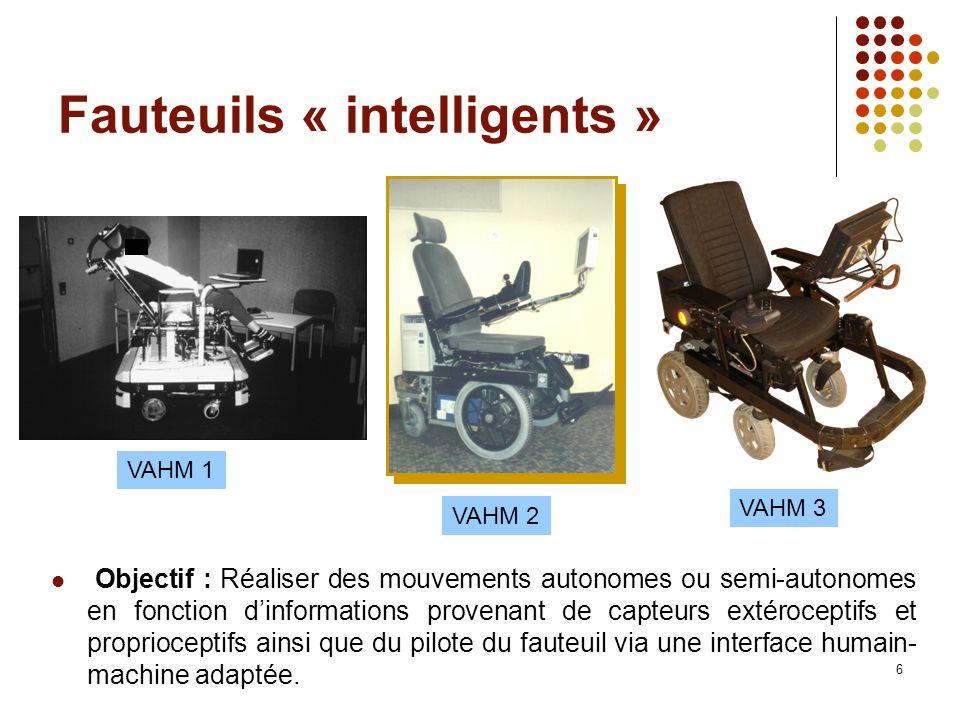 6 Fauteuils « intelligents » VAHM 1 VAHM 2 VAHM 3 Objectif : Réaliser des mouvements autonomes ou semi-autonomes en fonction dinformations provenant d