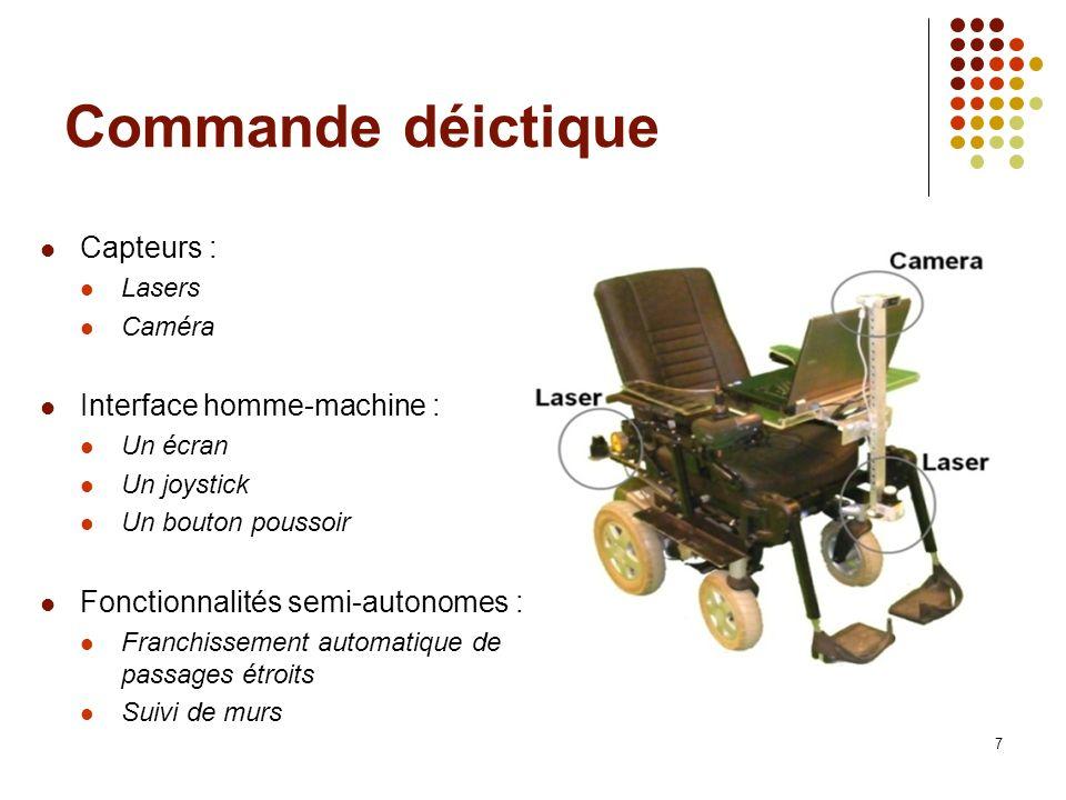 Commande déictique Capteurs : Lasers Caméra Interface homme-machine : Un écran Un joystick Un bouton poussoir Fonctionnalités semi-autonomes : Franchi