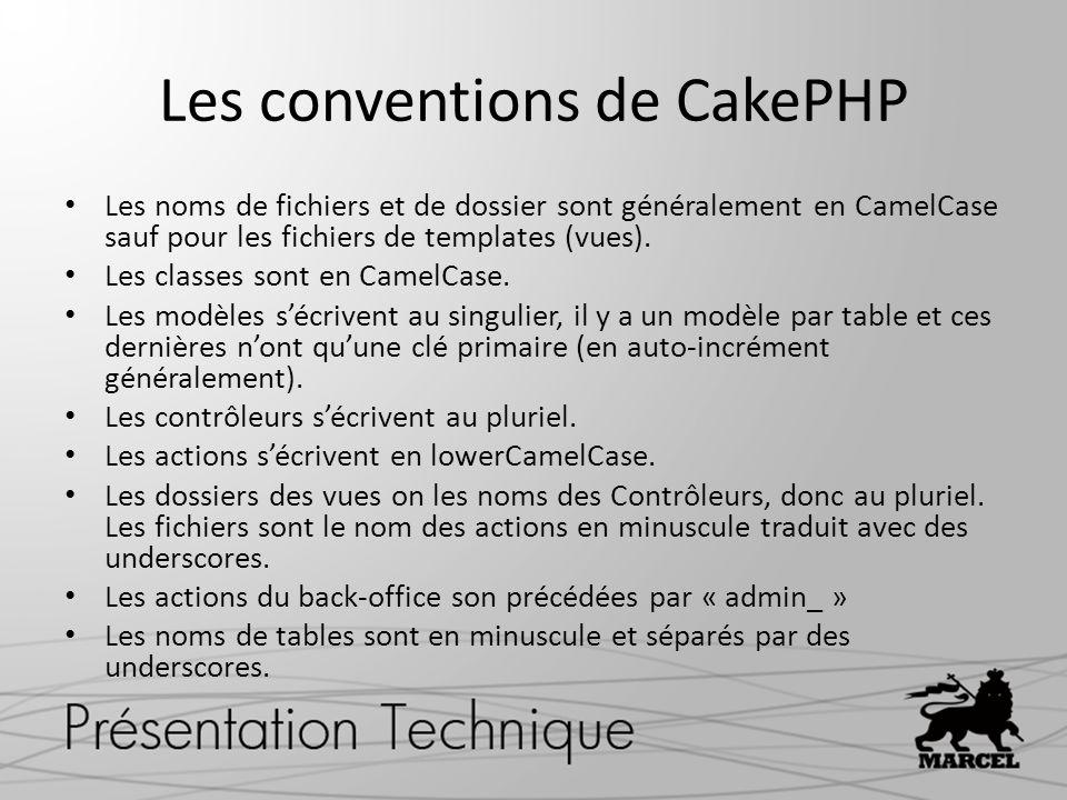Les conventions de CakePHP Les noms de fichiers et de dossier sont généralement en CamelCase sauf pour les fichiers de templates (vues). Les classes s