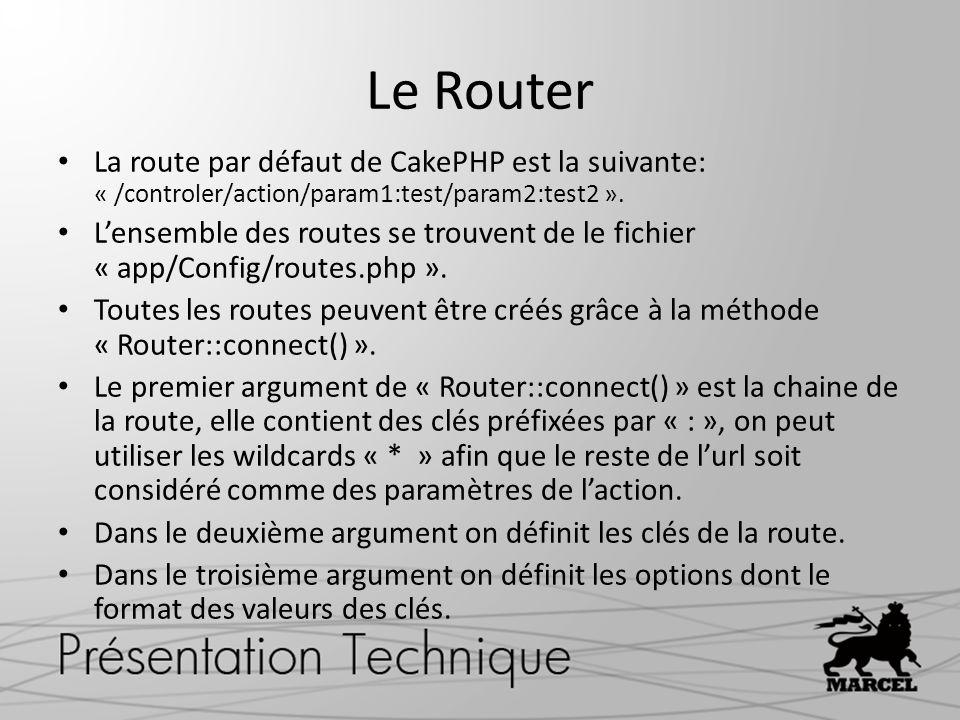 Le Router La route par défaut de CakePHP est la suivante: « /controler/action/param1:test/param2:test2 ». Lensemble des routes se trouvent de le fichi