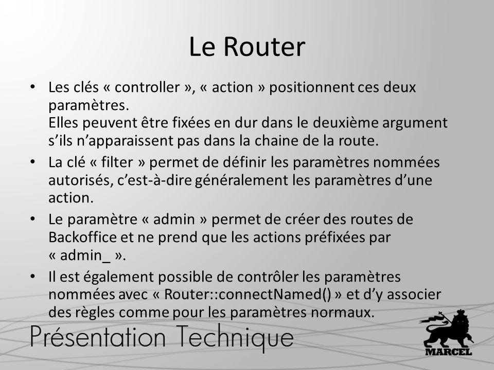 Le Router Les clés « controller », « action » positionnent ces deux paramètres. Elles peuvent être fixées en dur dans le deuxième argument sils nappar