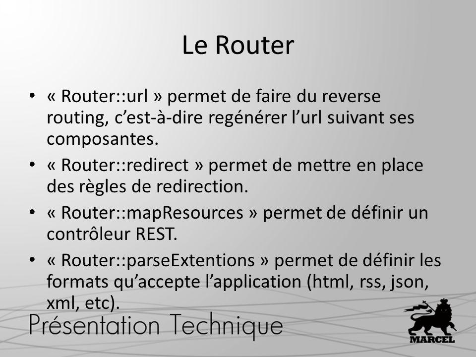 Le Router « Router::url » permet de faire du reverse routing, cest-à-dire regénérer lurl suivant ses composantes. « Router::redirect » permet de mettr