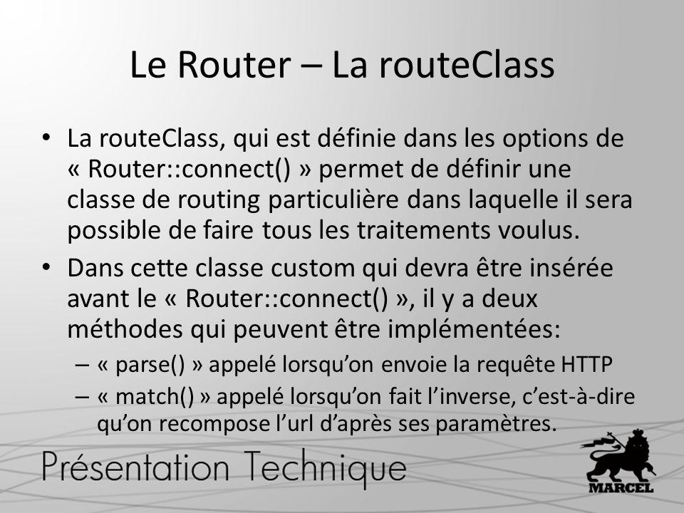 Le Router – La routeClass La routeClass, qui est définie dans les options de « Router::connect() » permet de définir une classe de routing particulièr
