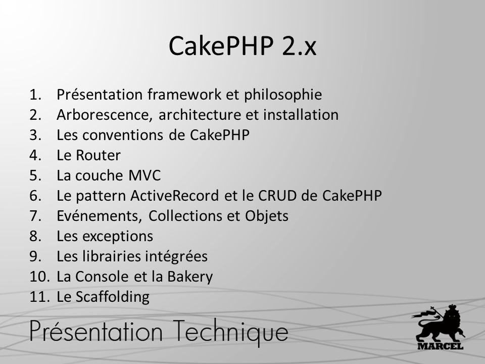 1.Présentation framework et philosophie 2.Arborescence, architecture et installation 3.Les conventions de CakePHP 4.Le Router 5.La couche MVC 6.Le pat