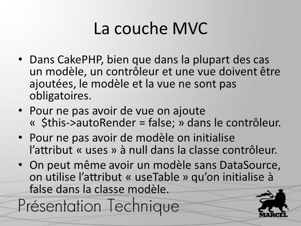La couche MVC Dans CakePHP, bien que dans la plupart des cas un modèle, un contrôleur et une vue doivent être ajoutées, le modèle et la vue ne sont pa