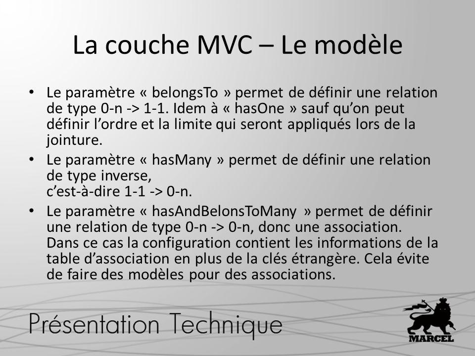 La couche MVC – Le modèle Le paramètre « belongsTo » permet de définir une relation de type 0-n -> 1-1. Idem à « hasOne » sauf quon peut définir lordr