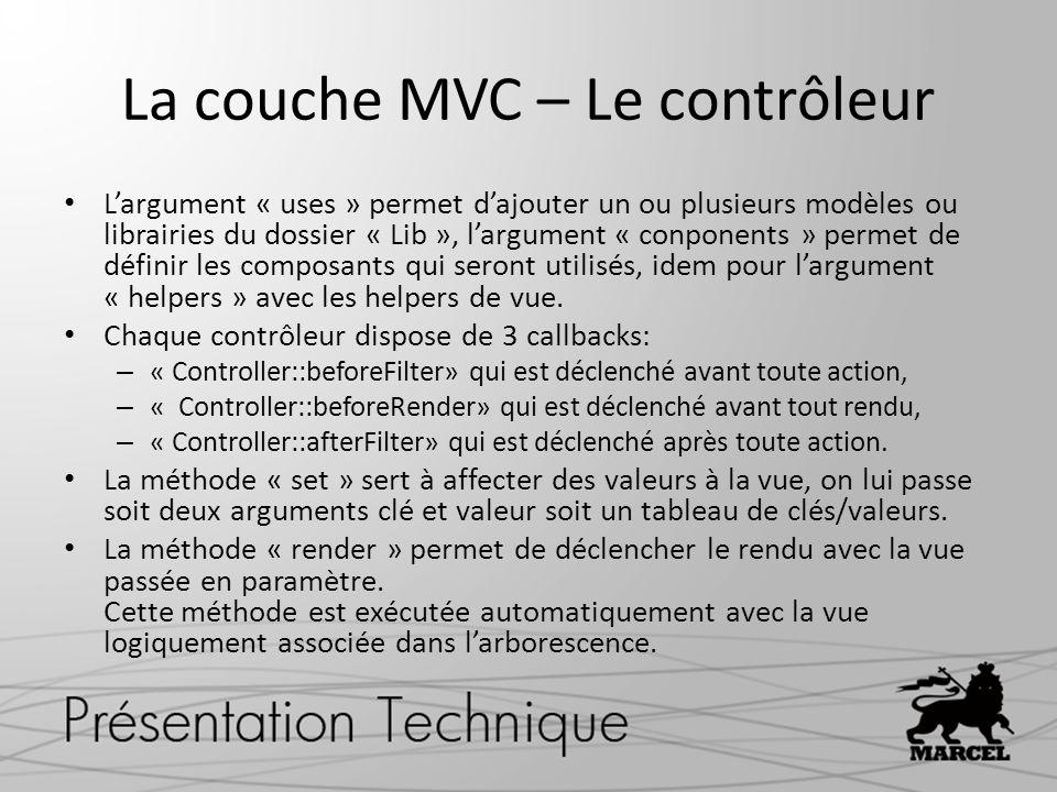 La couche MVC – Le contrôleur Largument « uses » permet dajouter un ou plusieurs modèles ou librairies du dossier « Lib », largument « conponents » pe