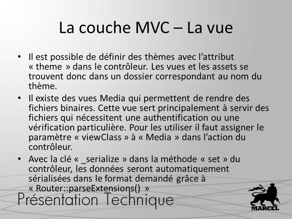 La couche MVC – La vue Il est possible de définir des thèmes avec lattribut « theme » dans le contrôleur. Les vues et les assets se trouvent donc dans