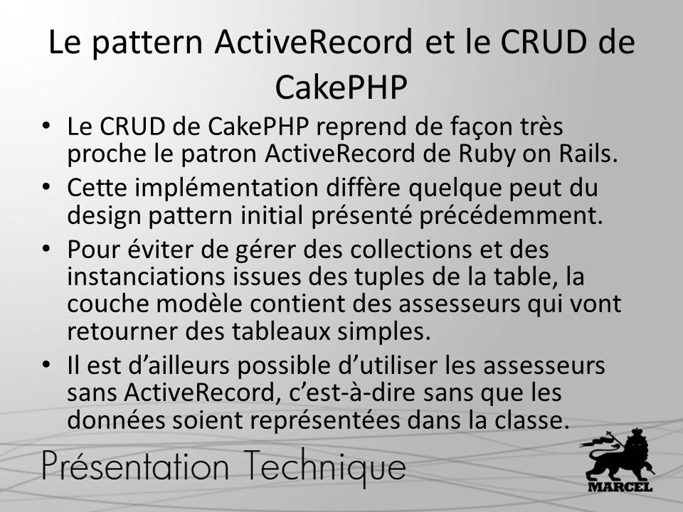 Le pattern ActiveRecord et le CRUD de CakePHP Le CRUD de CakePHP reprend de façon très proche le patron ActiveRecord de Ruby on Rails. Cette implément