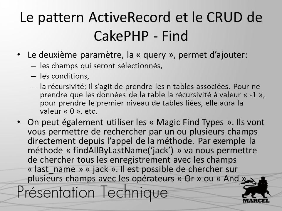Le pattern ActiveRecord et le CRUD de CakePHP - Find Le deuxième paramètre, la « query », permet dajouter: – les champs qui seront sélectionnés, – les