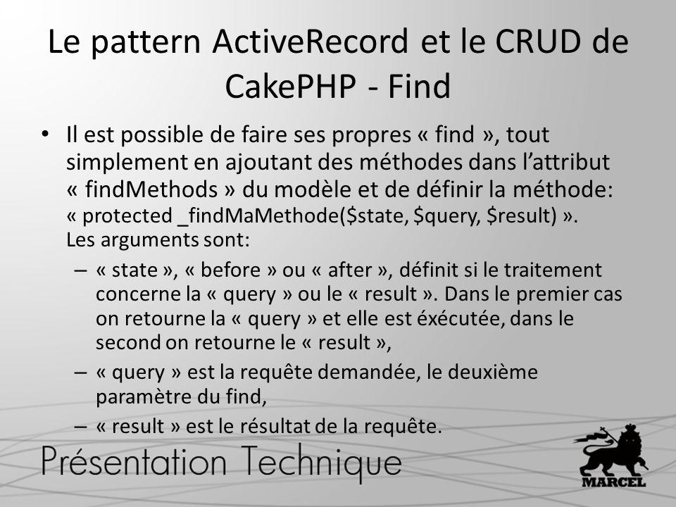 Le pattern ActiveRecord et le CRUD de CakePHP - Find Il est possible de faire ses propres « find », tout simplement en ajoutant des méthodes dans latt
