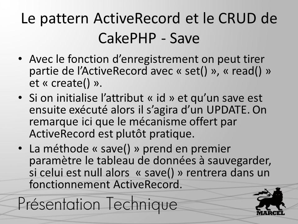 Le pattern ActiveRecord et le CRUD de CakePHP - Save Avec le fonction denregistrement on peut tirer partie de lActiveRecord avec « set() », « read() »