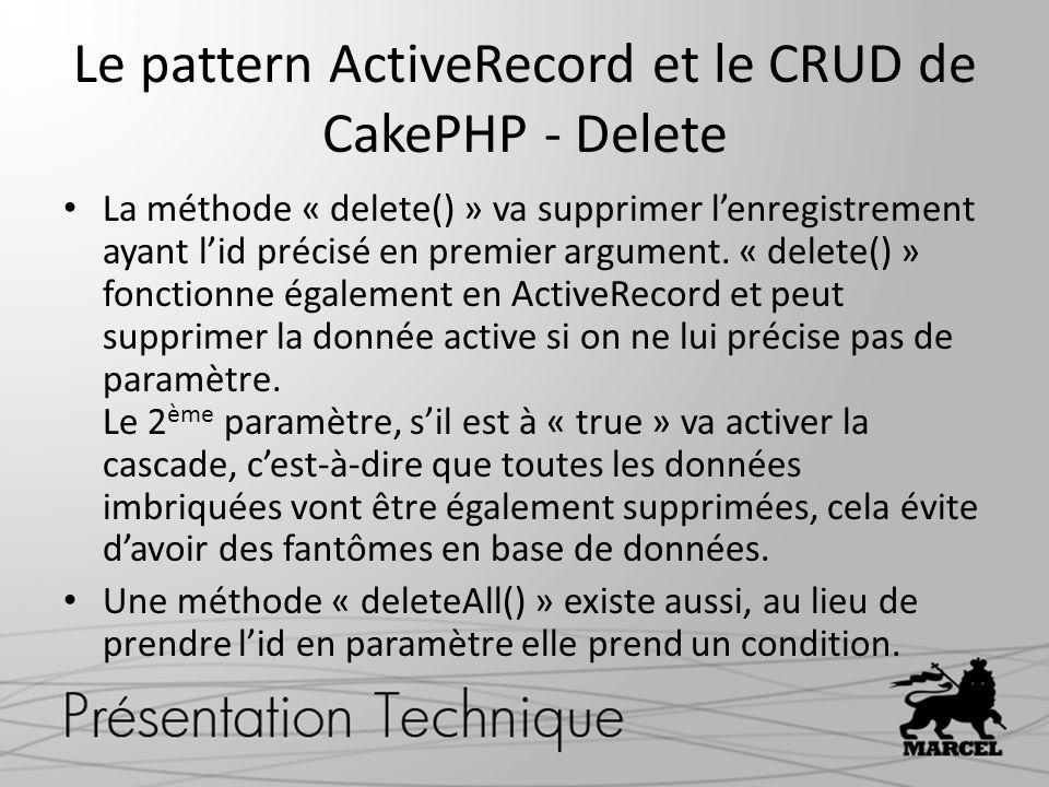Le pattern ActiveRecord et le CRUD de CakePHP - Delete La méthode « delete() » va supprimer lenregistrement ayant lid précisé en premier argument. « d