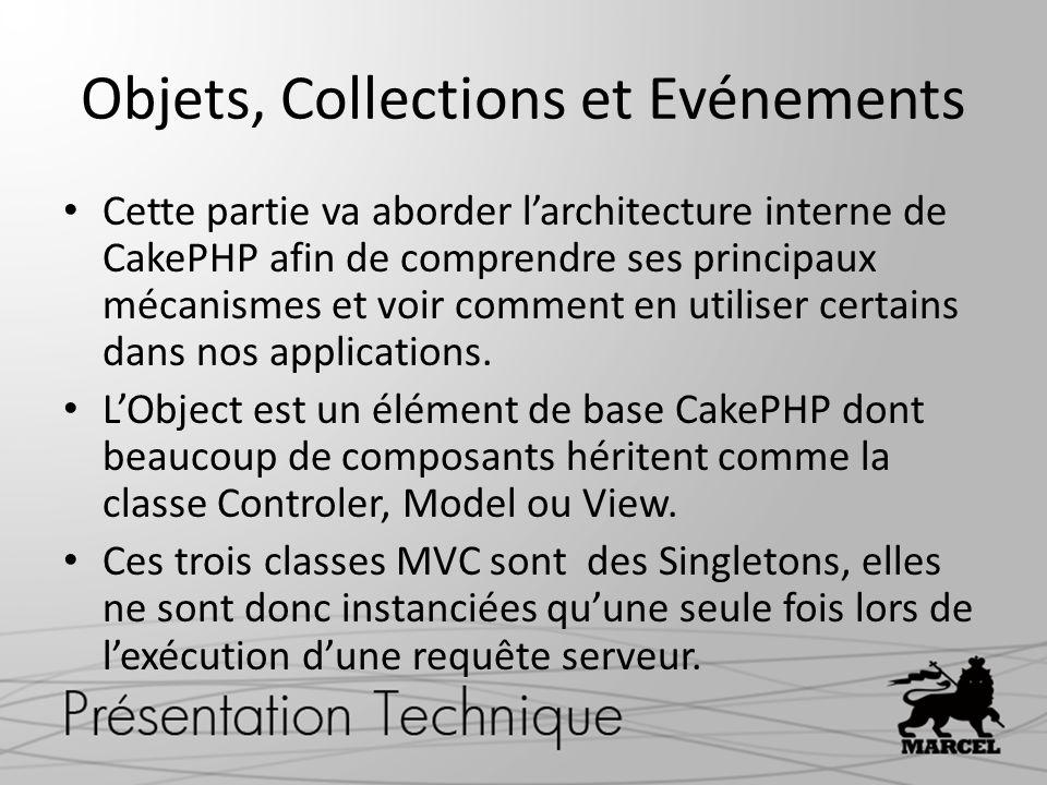Objets, Collections et Evénements Cette partie va aborder larchitecture interne de CakePHP afin de comprendre ses principaux mécanismes et voir commen