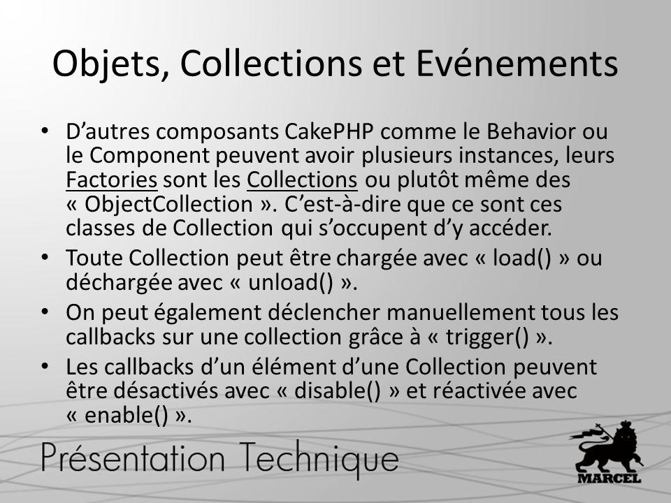Objets, Collections et Evénements Dautres composants CakePHP comme le Behavior ou le Component peuvent avoir plusieurs instances, leurs Factories sont