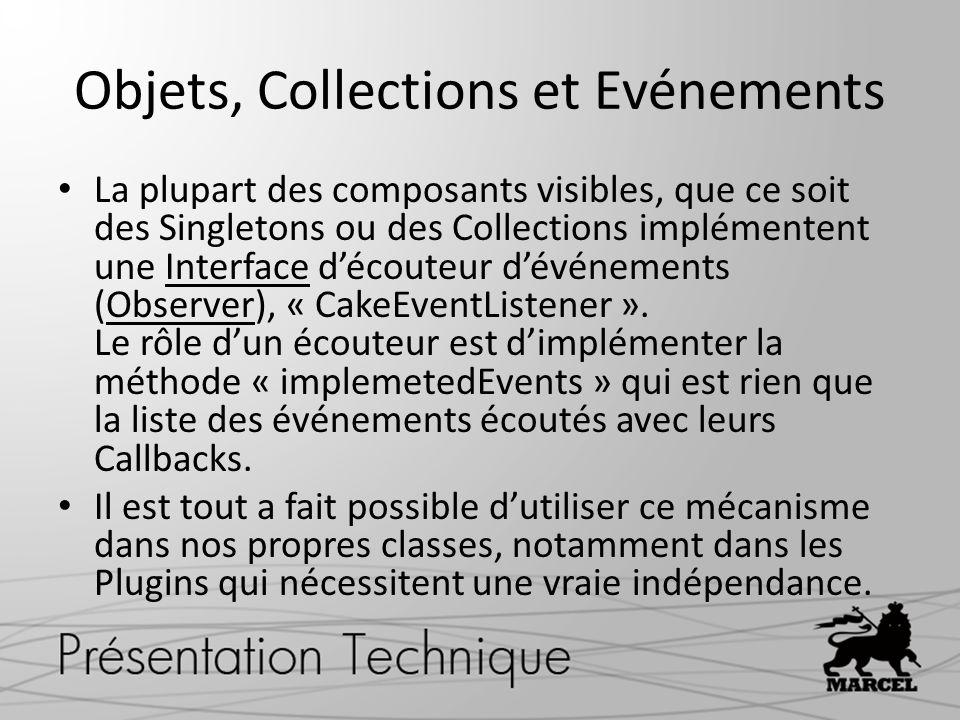 Objets, Collections et Evénements La plupart des composants visibles, que ce soit des Singletons ou des Collections implémentent une Interface découte