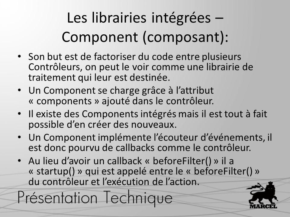 Les librairies intégrées – Component (composant): Son but est de factoriser du code entre plusieurs Contrôleurs, on peut le voir comme une librairie d