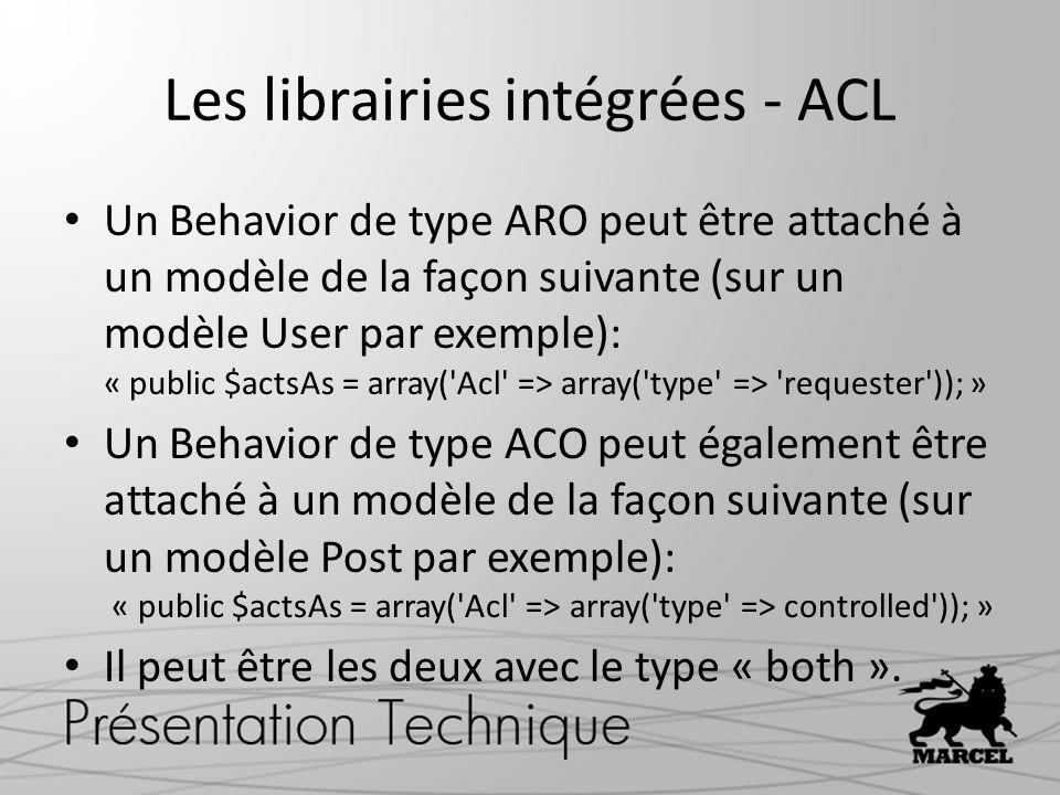 Les librairies intégrées - ACL Un Behavior de type ARO peut être attaché à un modèle de la façon suivante (sur un modèle User par exemple): « public $