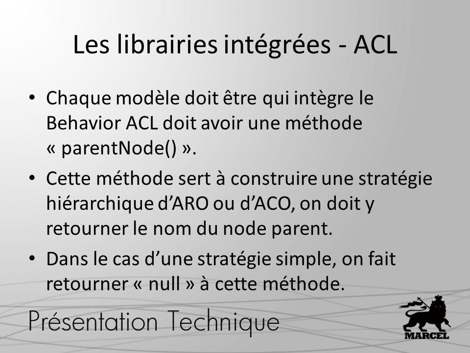 Les librairies intégrées - ACL Chaque modèle doit être qui intègre le Behavior ACL doit avoir une méthode « parentNode() ». Cette méthode sert à const