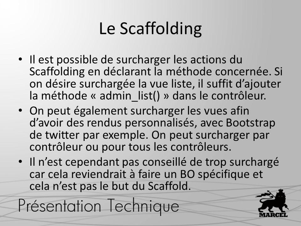 Le Scaffolding Il est possible de surcharger les actions du Scaffolding en déclarant la méthode concernée. Si on désire surchargée la vue liste, il su