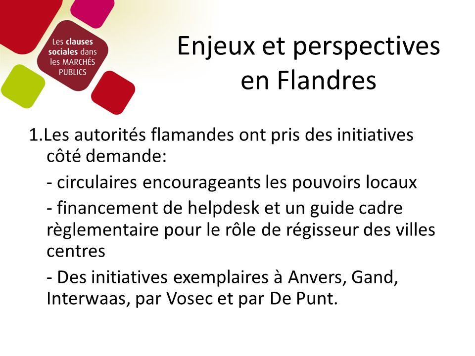 Enjeux et perspectives en Flandres 1.Les autorités flamandes ont pris des initiatives côté demande: - circulaires encourageants les pouvoirs locaux -