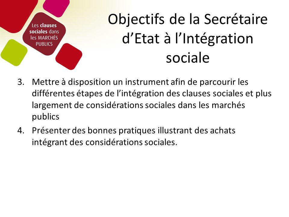 Objectifs de la Secrétaire dEtat à lIntégration sociale 3.Mettre à disposition un instrument afin de parcourir les différentes étapes de lintégration des clauses sociales et plus largement de considérations sociales dans les marchés publics 4.