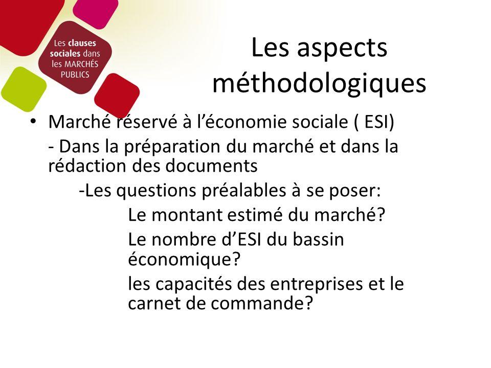 Marché réservé à léconomie sociale ( ESI) - Dans la préparation du marché et dans la rédaction des documents -Les questions préalables à se poser: Le