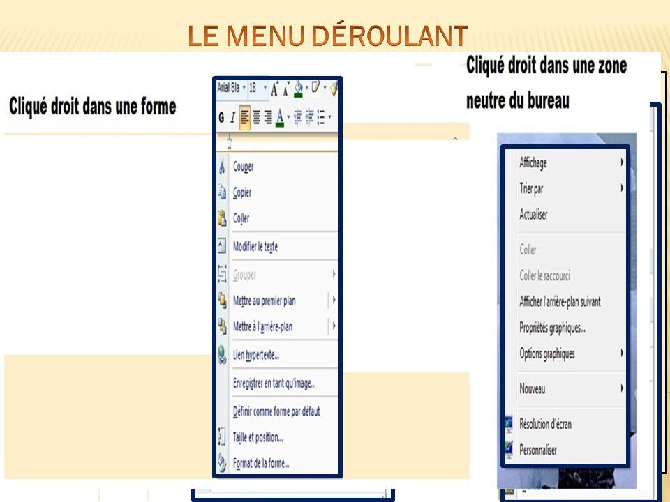 Un menu déroulant est une liste doptions affichées à lécran Le menu regroupe l ensemble des actions que lon peut réaliser sur ou avec l objet sur lequel il est appliqué.