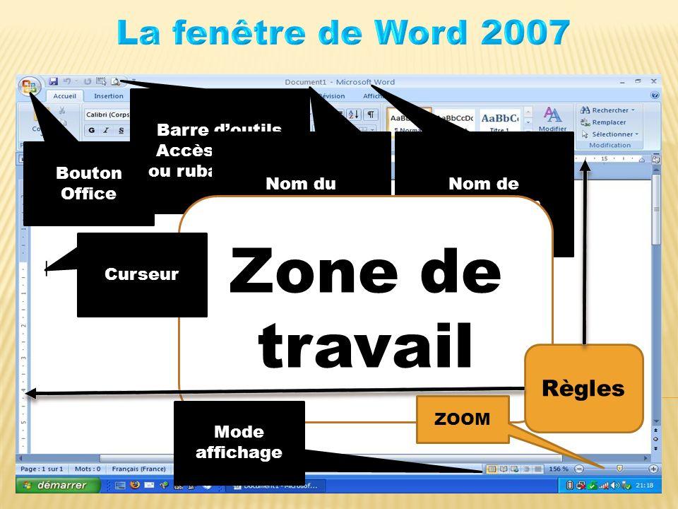 Bouton Office Barre doutils Accès Rapide ou ruban Office Nom du document Nom de lapplication Zone de travail Mode affichage Curseur Règles ZOOM