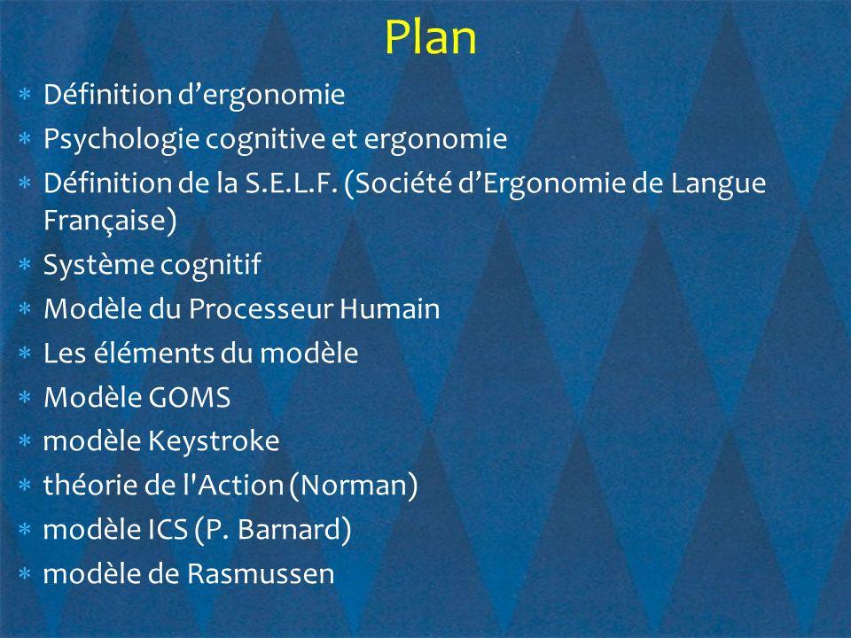Fournit un cadre simple pour la modélisation de l utilisateur Complète la théorie de l action de Norman Modèle simplifié des trois niveaux de contrôle des comportements humains Le modèle de Rasmussen